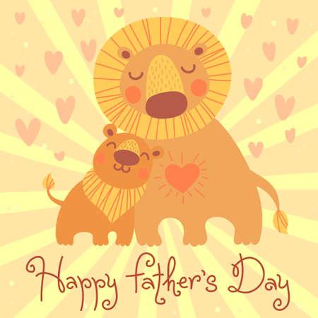 Gelukkige Vaderdag kaart. Leuke leeuw en welp. Vector illustratie.