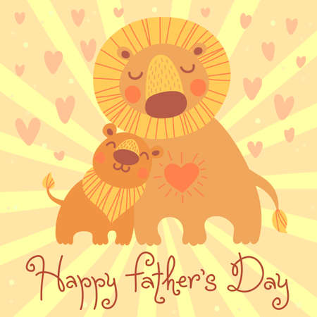 Happy Father's Day card. Cute lion and cub. Vector illustration.