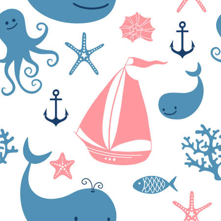 corral: Seamless pattern with cute whales, sailing, octopus. Vector illustration.