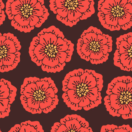 Seamless floral pattern with blooming poppies. Vector illustration. Vector