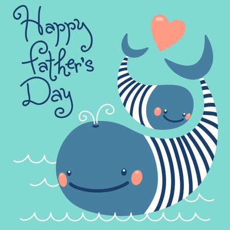 Gelukkig Vaderdag. Kaart met leuke walvissen. Vector illustratie. Stock Illustratie