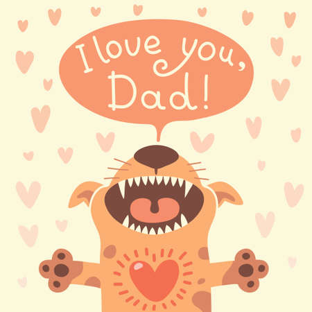 Card Happy Fathers Day with a funny puppy. Vector illustration. Vector