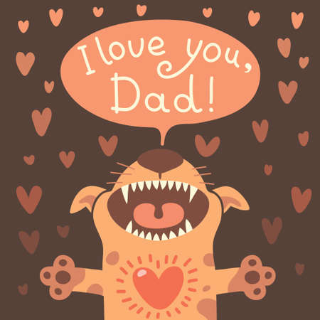 Card Happy Fathers Day with a funny puppy.  Vector