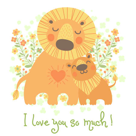 Happy Fathers Day card. Cute lion and cub.  Vector
