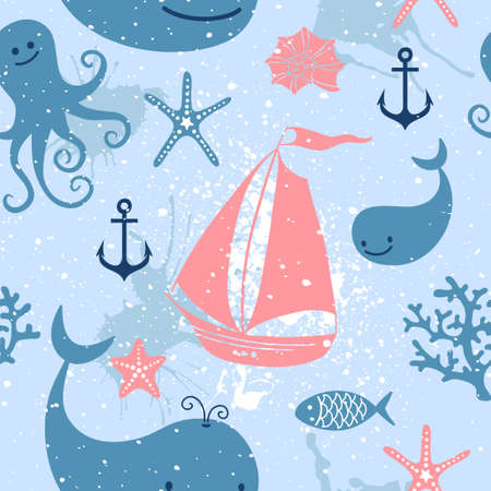 corral: Seamless pattern with cute whales, sailing, octopus.