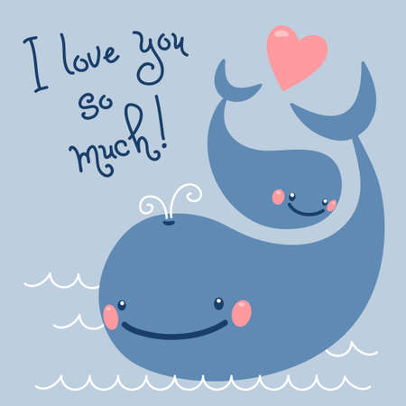 Happy Father s Day  Card with cute whales   Vector