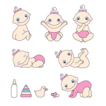 baby cartoon: Set of cute baby girls.