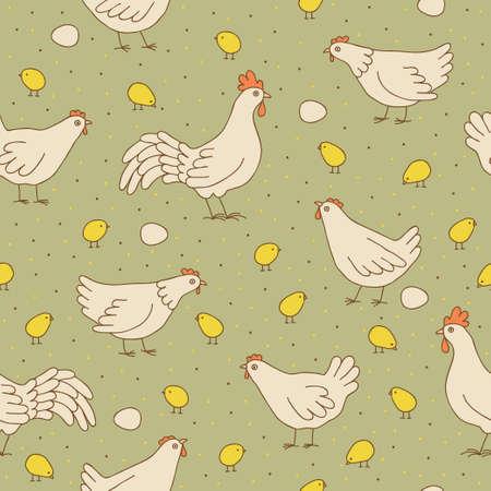 壁紙、パターンの塗りつぶし、web ページの背景、表面のテクスチャ豪華なシームレスな幼稚な背景に鶏とひよこのシームレスなパターンとのシーム