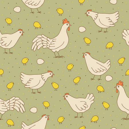 Seamless texture with  hens and chicks  Seamless pattern can be used for wallpaper, pattern fills, web page background,surface textures  Gorgeous seamless childish background  Vectores