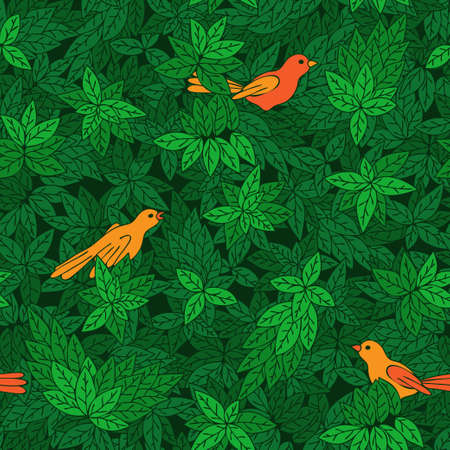 verdant: Foliate pattern with birds  Seamless pattern can be used for wallpaper, pattern fills, web page background,surface textures  Illustration