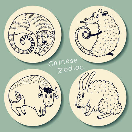 chinese astrology: Set signs of the Chinese zodiac.
