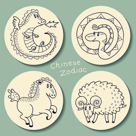 sheep sign: Set signs of the Chinese zodiac.