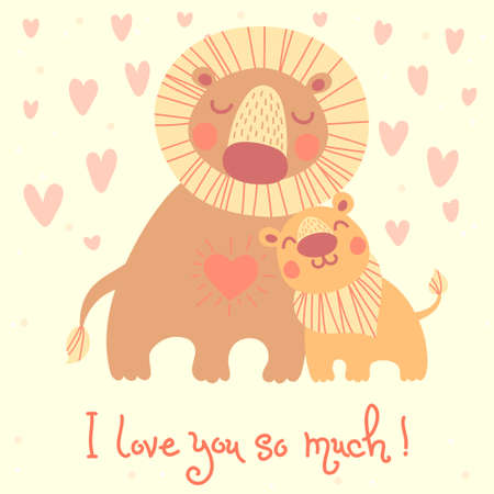 i kids: Happy Fathers Day card. Cute lion and cub. Illustration