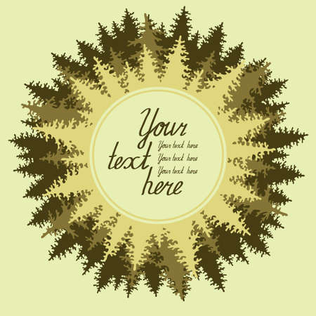 coniferous forest: Ilustraci�n de los bosques de con�feras con un lugar para su texto.
