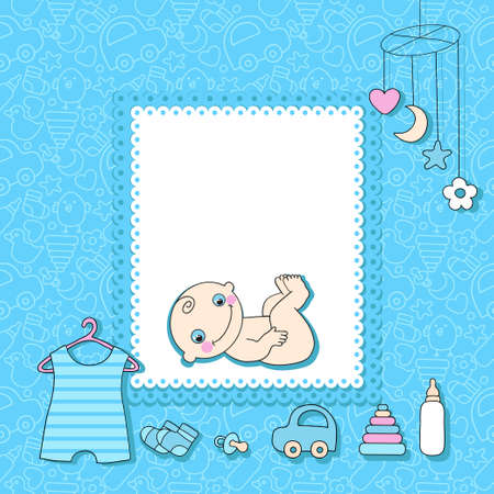 cute cartoons: Sweet baby boy announcement card style cartoon illustration