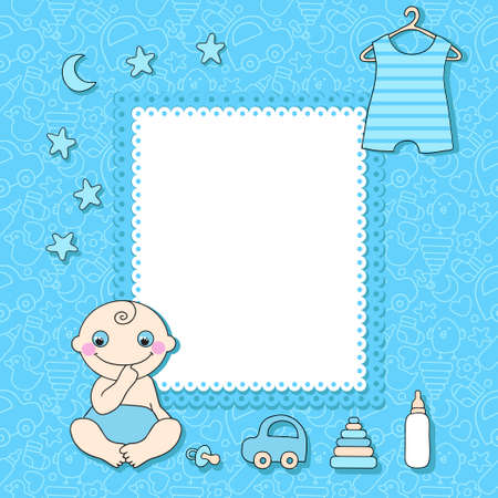 Sweet baby boy announcement card style cartoon   Vector