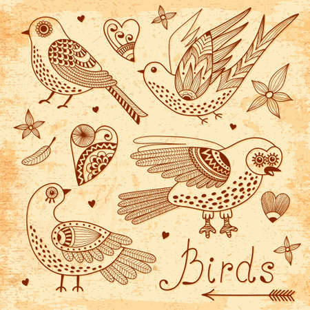 birds and hearts Hand drawn set Vector