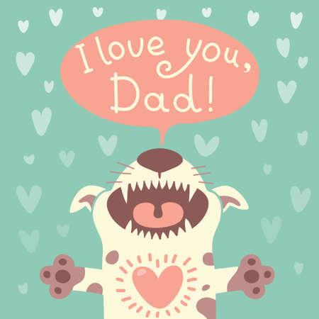 与一个滑稽的小狗例证的卡片愉快的父亲节。