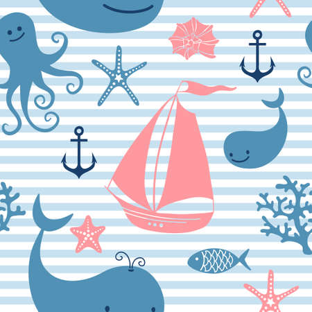 corral: Seamless pattern with cute whales, sailing, octopus illustration.
