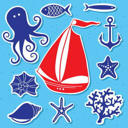 Silhouette Sea - Hand drawn set of sea symbols  Vector