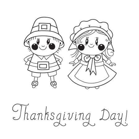 thanksgiving day symbol: Giorno del Ringraziamento bambini Pilgrim coppia Vettoriali