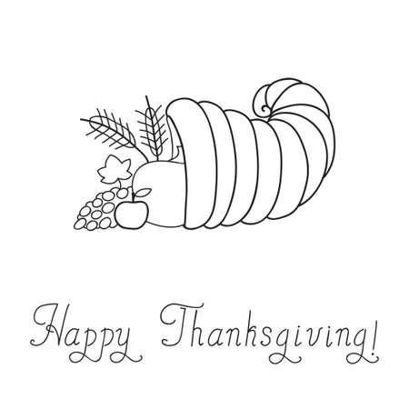 thanksgiving day symbol: Giorno del Ringraziamento Cornucopia Doodle Template Vettoriali