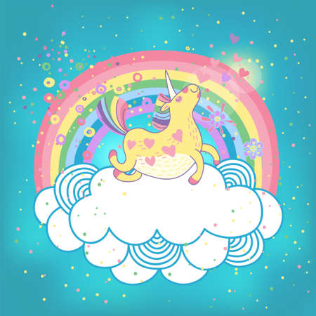 Card with a cute unicorn rainbow in the clouds