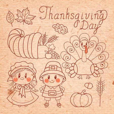cornucopia: Thanksgiving Day  Set of elements for design