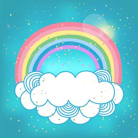 sol caricatura: Tarjeta con un arco iris y una nube Vectores