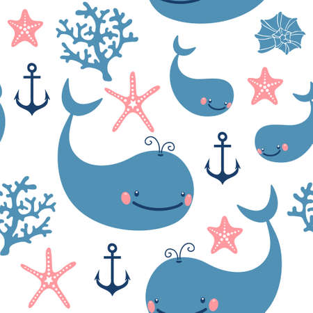 corral: Seamless pattern with cute whales  Vector illustration