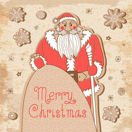 mighty: Vintage Christmas card with a mighty Santa Illustration