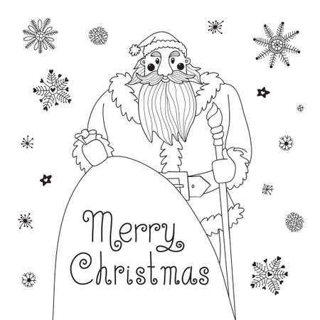 mighty: Sketch Christmas card with a mighty Santa. Vector illustration.