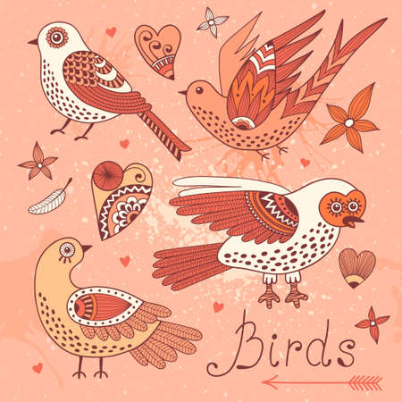 set birds and hearts. Hand drawn elements for design. Vector