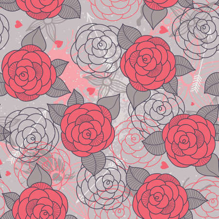 Seamless pattern with roses can be used for wallpaper, pattern fills, web page background, surface textures. Vector