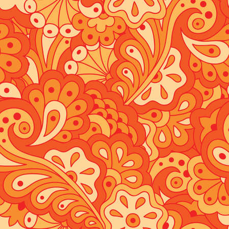 Hand drawn seamless pattern with abstract flowers. Ethnic seamless pattern. Vector backdrop. Vector