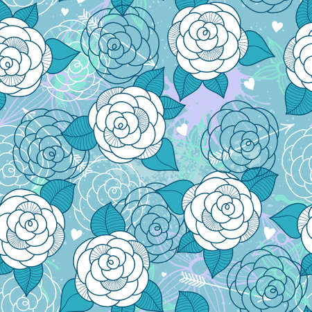 roses and hearts: Seamless pattern with roses can be used for wallpaper, pattern fills, web page background, surface textures.
