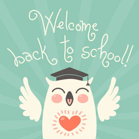 Welcome back to school. Card with an owl. Hand drawn vector illustration. Vector