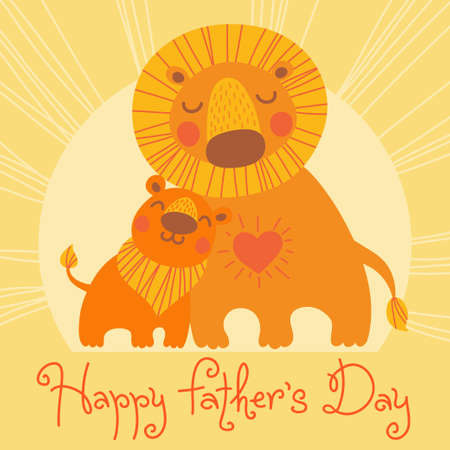 family fun day: Happy Fathers Day card. Cute lion and cub. Vector illustration.