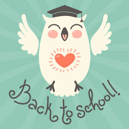 Back to school. Card with an owl. Hand drawn vector illustration. Vector