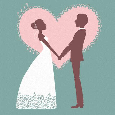 silhouette of bride: Wedding invitation  Silhouette of bride and groom  Vector illustration