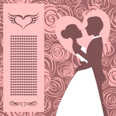 bride groom silhouette: Wedding invitation Silhouette of bride and groom Illustration