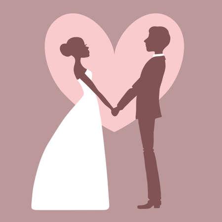 Wedding invitation Silhouette of bride and groom Vector