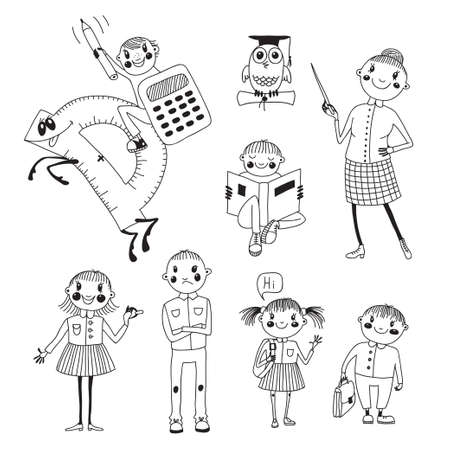 Hand drawn teacher and school children Vector