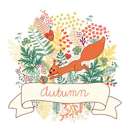 cartoon autumn: Beautiful card with a squirrel illustration