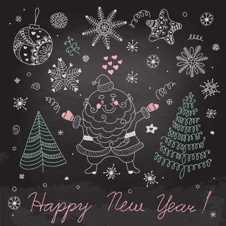 Christmas elements on the blackboard  Vector