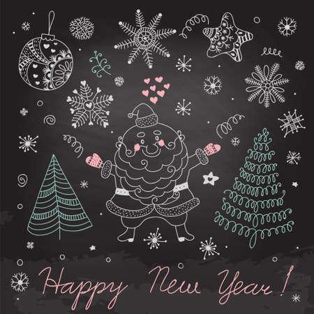 Christmas elements on the blackboard  Vector
