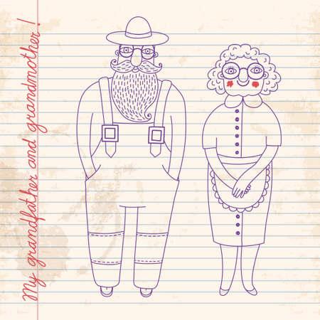 older woman smiling: Elderly couple illustration