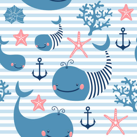 corral: Seamless pattern with cute whales