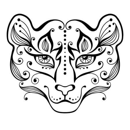 tigresa: Tigresa tatuaje decorativo en estilo de ilustración vectorial