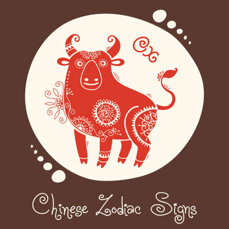 Ox  Chinese Zodiac Sign  Silhouette with ethnic ornament  Vector illustration